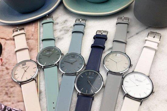 Ernest dames horloge - RVS – PU band – Mineraal glas – Quartz - Nikkelvrij - 40mm – Ijsblauw