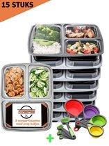Meal Prep Bakjes - 15 PACK + INCLUSIEF MAATCUPJES - 3 compartimenten - Vershouddoos - Mealprep container met deksel - Lunchbox - 1000ml inhoud - BPA vrij