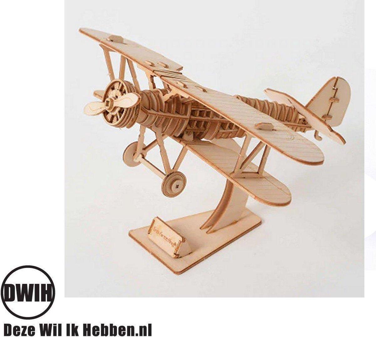 Houten 3D  puzzel Vliegtuig - bouwpakket