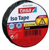 1x Tesa isolatietape rol zwart 20 mtr x 1,9 cm - Klusbenodigdheden - Isolatie tape - Universele tape - Elektriciteitskabels/draden bundelen
