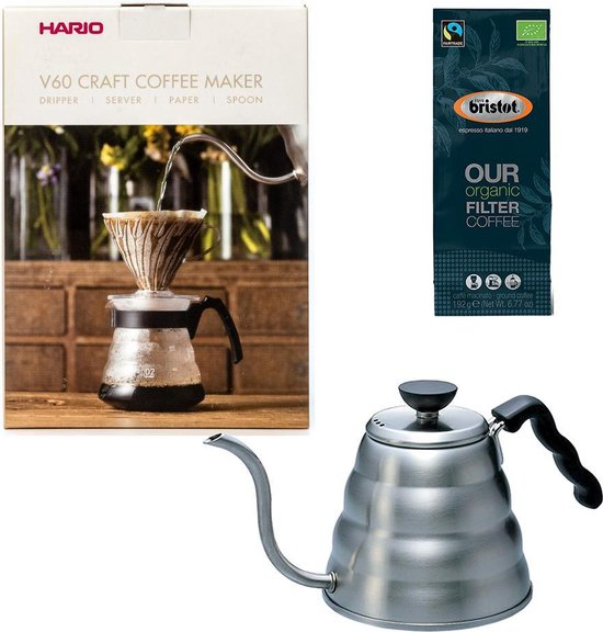 Hario V60 slow coffee kit + Hario V60 Buono Waterketel 1.2 liter + Bristot OUR Biologische Filter Koffie