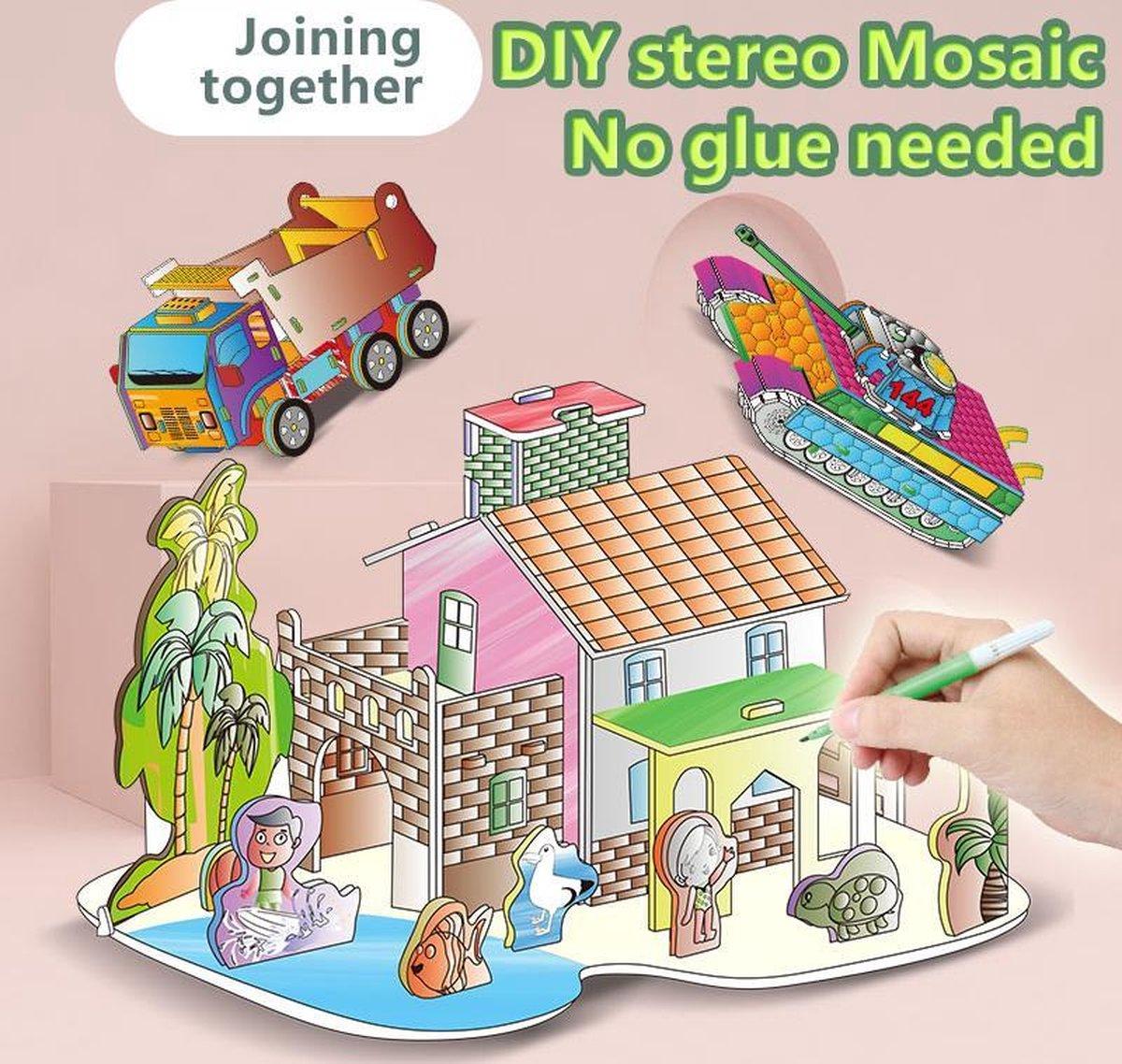 3D Puzzel 'Villa A&D 2 in 1 Set' Speelgoed voor kinderen - Jongens En Meisjes - Voertuigen - Villa - Kasteel - Tekenen - Kleuren - Knutselen - Vanaf 3 Jaar Oud - Leerzaam