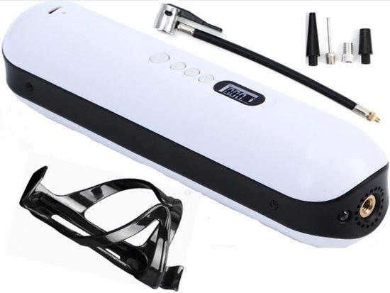 Draagbare Luchtcompressor - USB Oplaadbaar - Met drukregelaar - Fietspomp - 11-delige set - Inclusief fietshouder en montage set - 8 Ventielen - 8.2 Bar