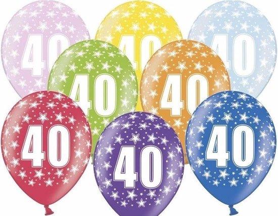 24x Ballonnen 40 jaar met sterretjes versiering - Leeftijd verjaardag feestartikelen 40 jarige