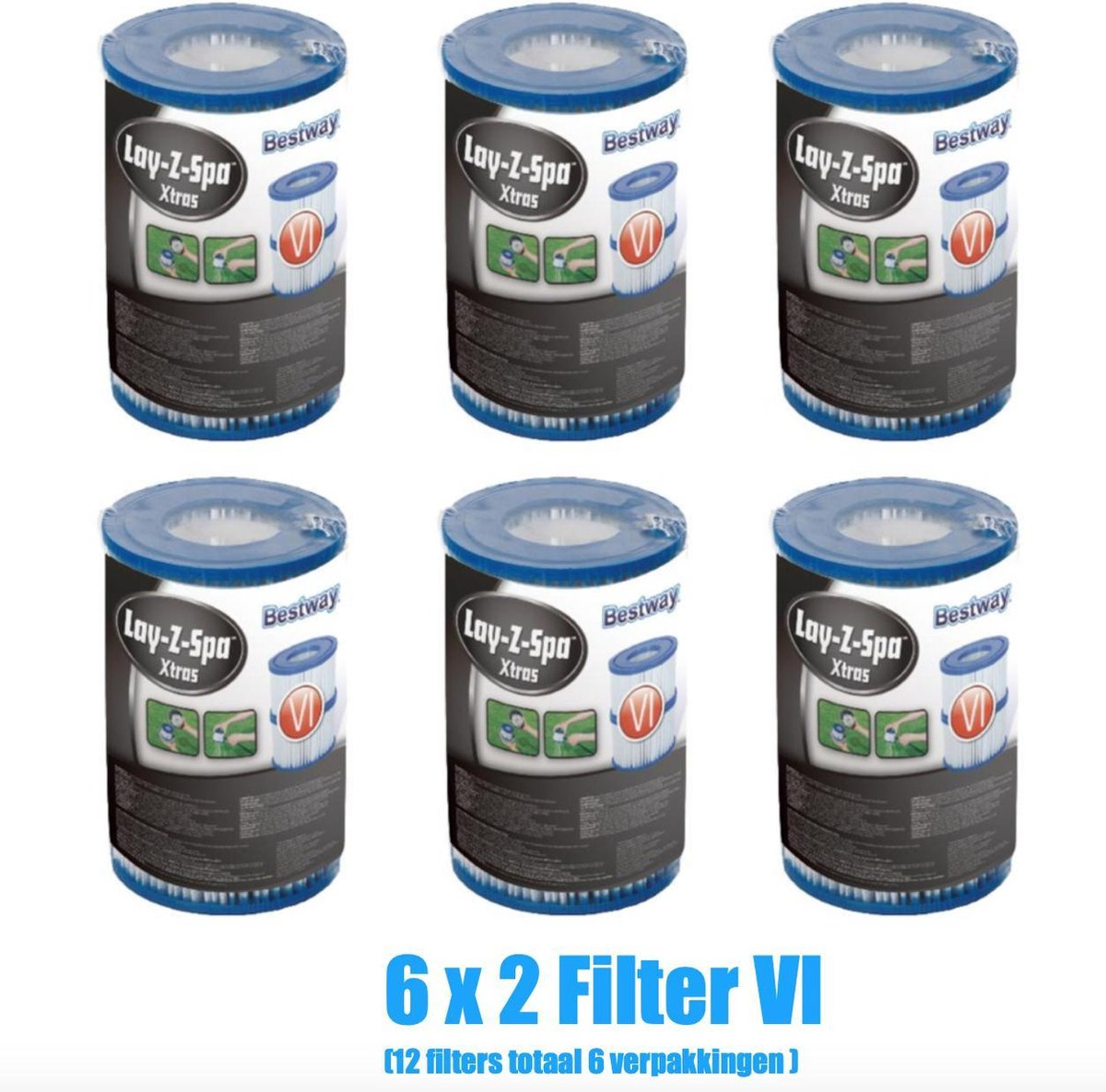 Spa Filter Cartridge (VI) - filterpatroon VI - Lay Z Spa - Filter - Opblaas spa - 2x6 12stuks