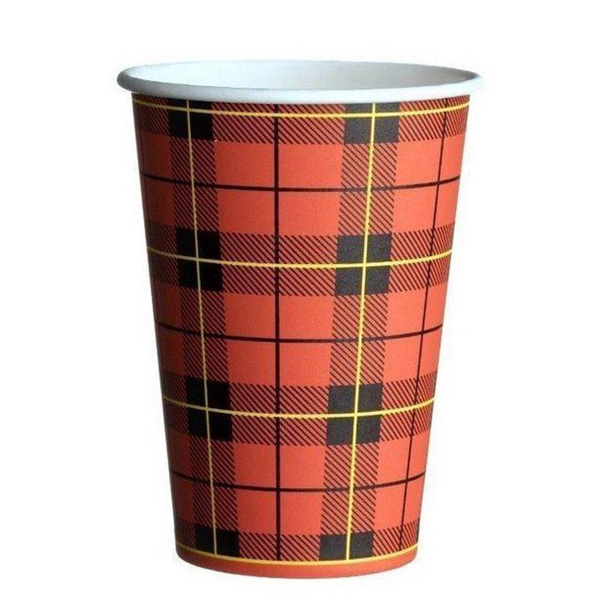 Kartonnen koffiebeker Schotse ruit 180cc doos 2500 stuks