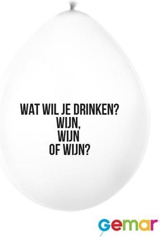 """Ballonnen met unieke tekst """" Wat wil je drinken, Wijn , wijn of Wijn"""""""