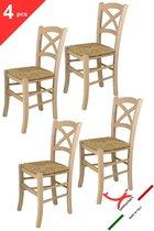 Tommychairs - Set van 6 klassieke stoelen model Cross. Zeer geschikt voor keuken, bar en eetkamer, sterke structuur in gepolijst beukenhout, niet behandeld, 100% natuurlijk en zitting in stro