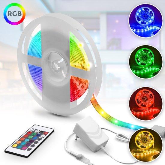 B.K.Licht LED strip 5 meter - RGB - met afstandsbediening incl. kleurverandering - Siliconencoating - zelfkleven - 150 LED's - incl. kabel en trafo