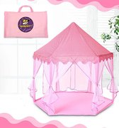 Speeltent voor meisjes - Prinsessentent / Prinsessen Tent - Grijs/Roze - Cadeautip