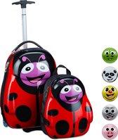 relaxdays kinderkoffer met rugzak - rugtas kind - hard case koffer - reiskoffer kinderen Lieveheersbeestje