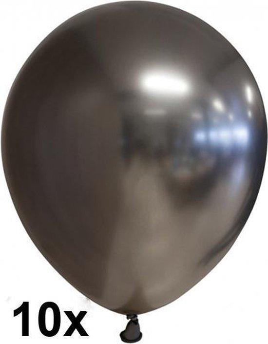 Chrome ballonnen Antraciet / zwart, 10 stuks, 30cm