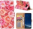 FONU Bookcase Hoesje Roze Rozen Samsung Galaxy S8