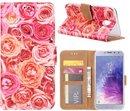 FONU Bookcase Hoesje Roze Rozen Samsung Galaxy J4 (SM-J400)
