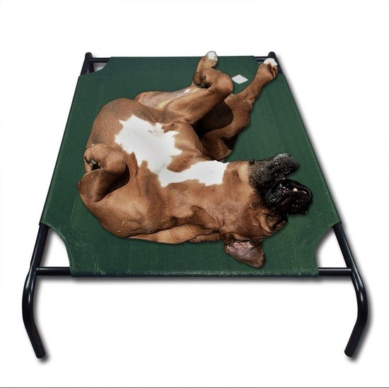 Large Honden Ligbed - Grote Hondenbed Stretcher - Dierenbed - Hondenstretcher Bed Op Poten - Hondenligbed 90x65cm - Met Groen Overtrek