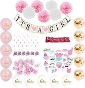Versier Pakket It's a Girl babyshower versiering Roze - Baby Shower decoratie geboorte meisje
