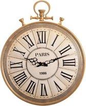 LW Collection Paris antieke wandklok vintage - muurklok brons goud retro rond - klassieke klok 50cm