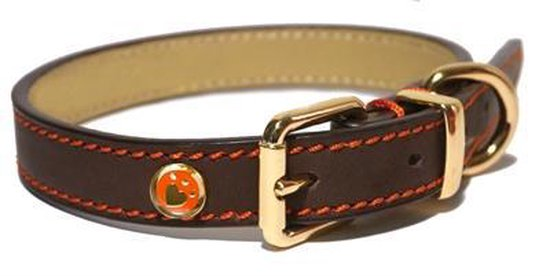 Rosewood Luxury Leren Halsband Hond - Bruin - 1,9 x 36 x 46 cm