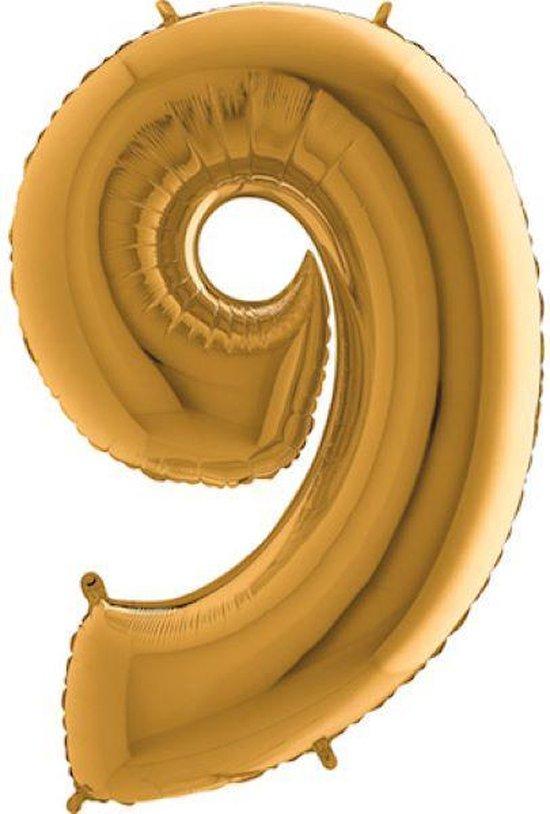 Grabo Balloons - Folieballon - cijfer 9 - goud - 66cm