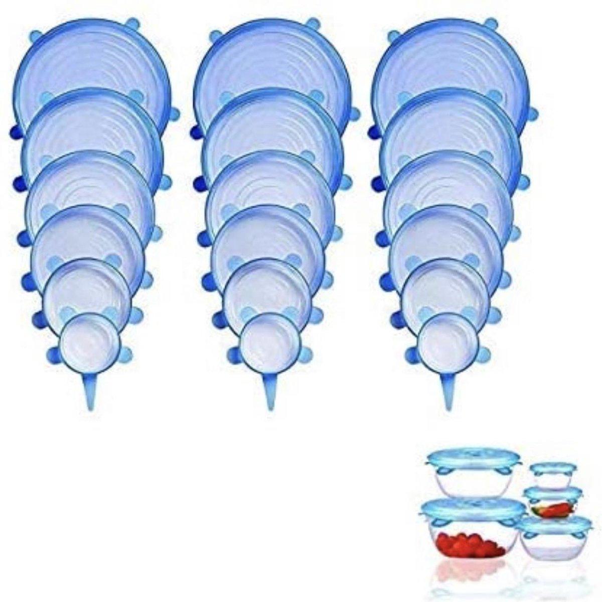 18 siliconen deksel stretche afsluitdeksels voor vershoud -seal herbruikbaar deksel (3x6) 6 verschil