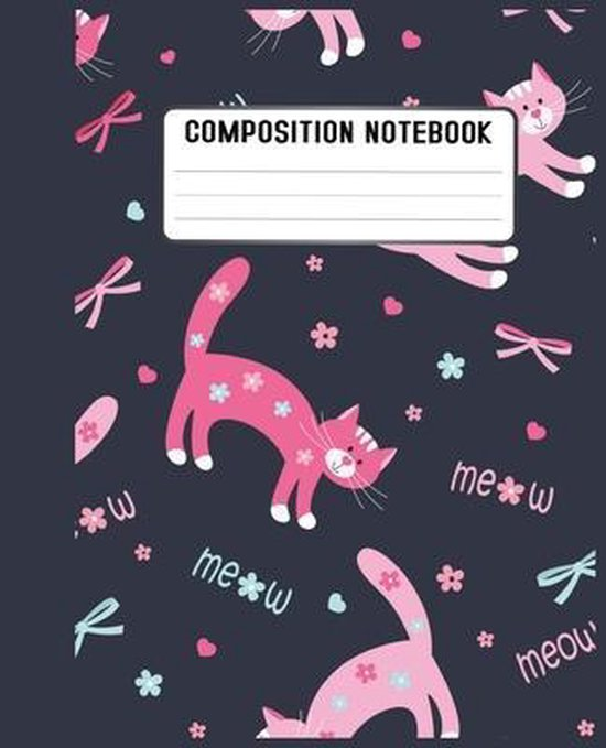 Composition Notebook: Cute funny cat pattern