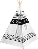 Tipi speel tent in katoen  - wit/ecru met speels zwart design - inclusief handige opberghoes