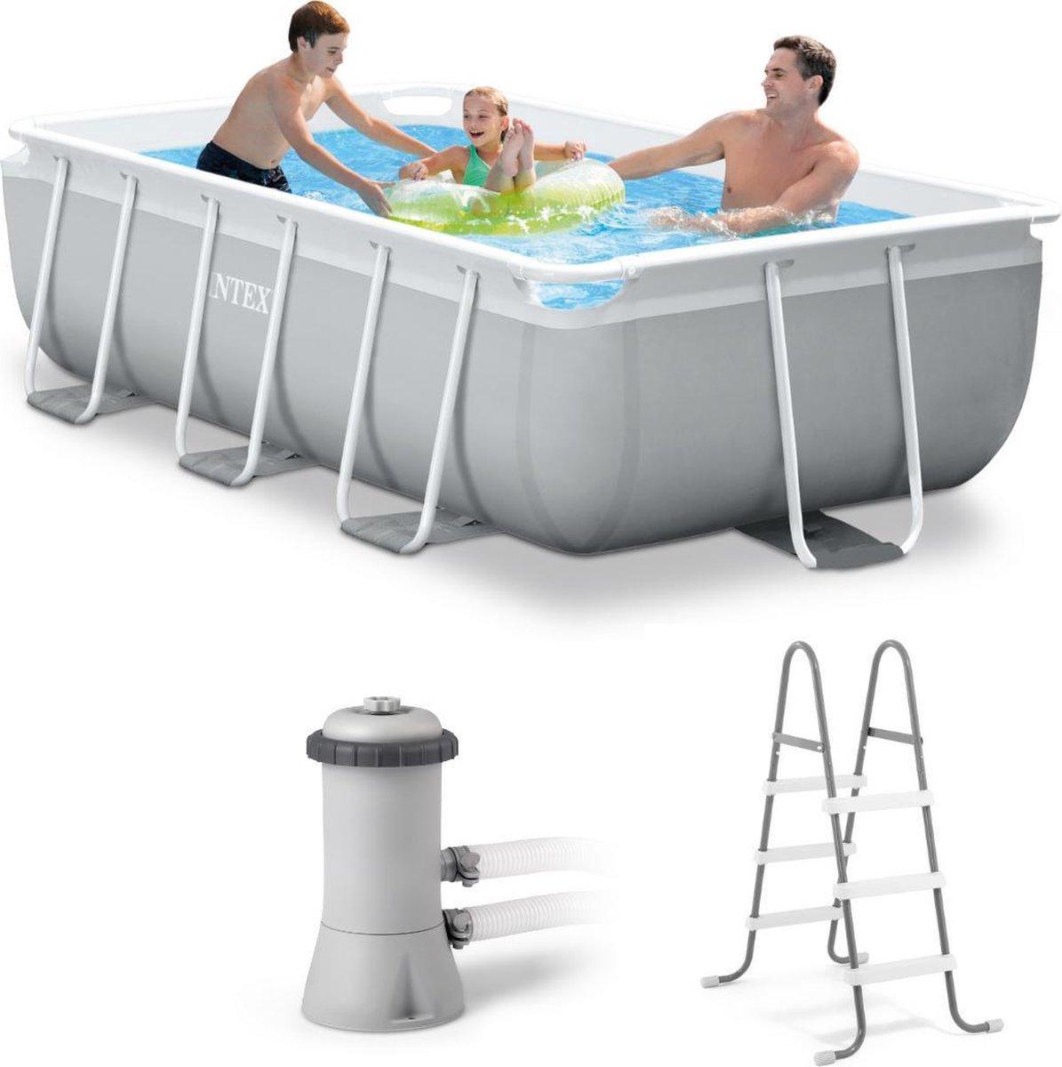 Intex Opzetzwembad - Prism Frame - 300 X 175 X 80 Cm - Met accessoires - Grijs