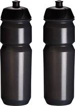 2 x Tacx Shiva Bidon - 750 ml - Transparant Zwart Drinkbus