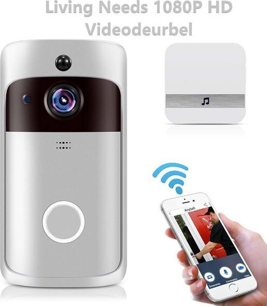 Living Needs Draadloze Deurbel – Video Deurbel – Deurbel met Camera – Deurbel - 1080P HD - Silver.