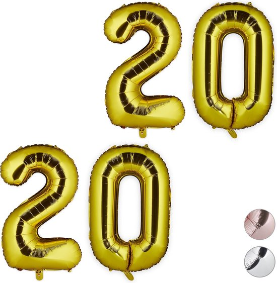 relaxdays 2x folieballon getal 20 - luchtballon folie ballon - XXL cijferballon - goud