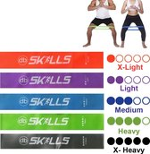 Weerstandbanden set van 5 Resistance Banden - Fitness elastiek - Full body trainer - Sport banden - Thuis trainen - db SKILLS - Nu met een GRATIS opbergtasje