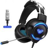 AULA G91 USB RGB Verlichting Gaming headset - 7.1 Surround Sound - Multi platform (PC,laptop,PS4 etc.) - Zwart