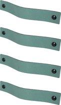 Leren handgrepen /Platte greep - 4 stuks - VAALGROEN - maat S (15,8 x 2,5 cm) - incl. 3 kleuren schroefjes