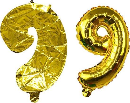 Feestballon cijfer 9 - ballon -  nummer - folie - cijferballon - verjaardag - folieballon - Goud