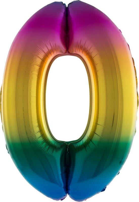 Cijferballon folie nummer 0 | Opblaascijfer 0 regenboog 41cm
