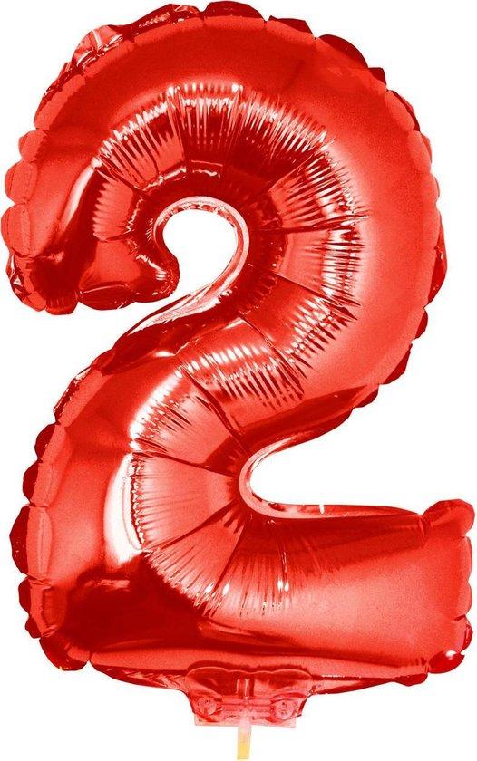 Cijferballon folie nummer 2   Opblaascijfer 2 rood 41cm