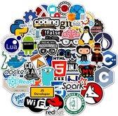 Sticker set voor laptop of andere voorwerpen - Stickerset van 50 stuks - Java en Tech Stickers - Voor programmeurs