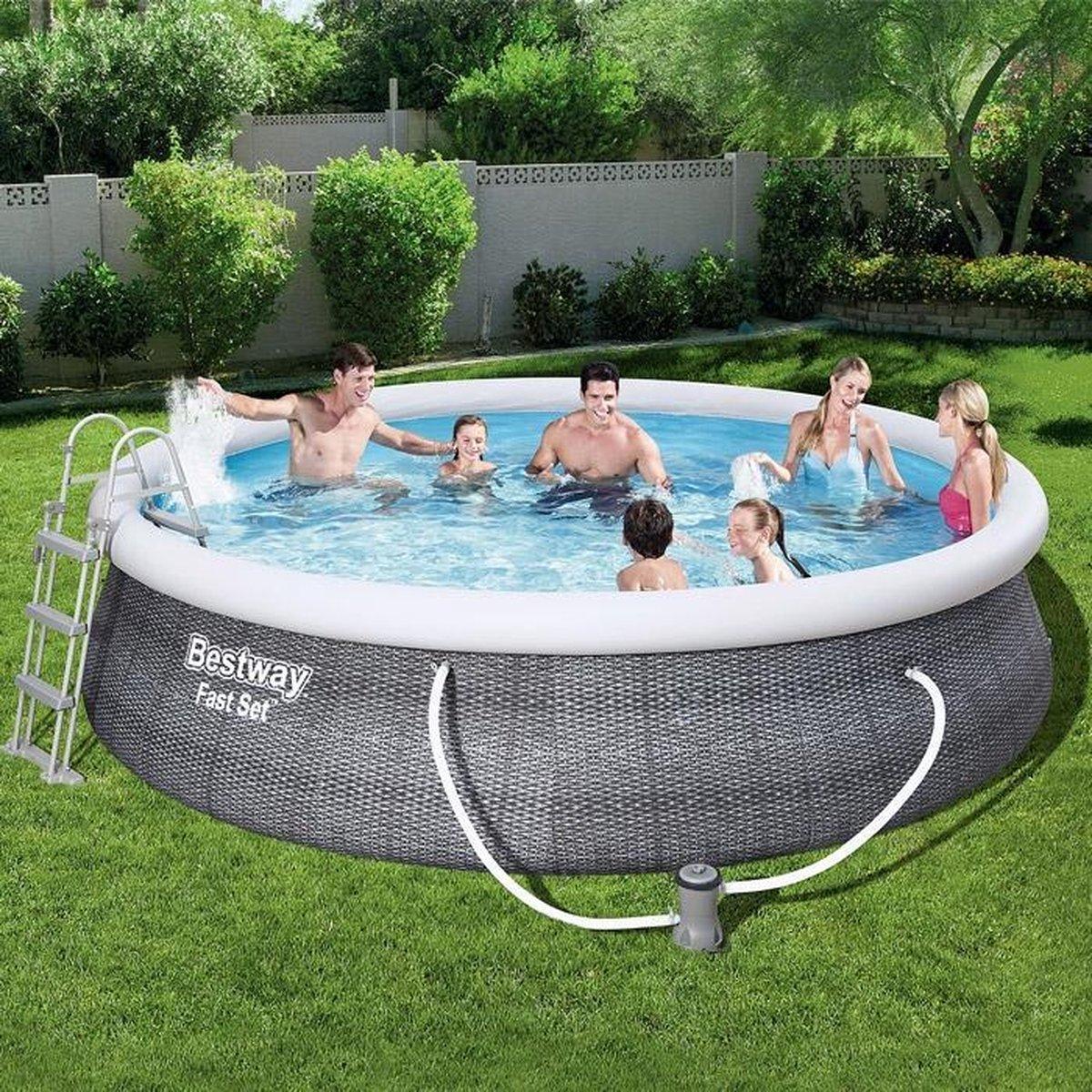 Bestway zwembad 457 x 107 cm set met filterpomp rattan look