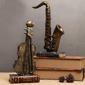 Saxofoon Beeldje Huis Decoratie - Decoratie Woonkamer - Decoratie - Brons