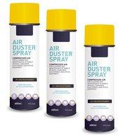 Airduster spray - Perslucht spuitbus - 600ml - Set van 3