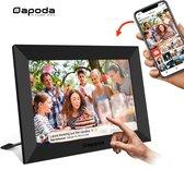 Dapoda® Digitale fotolijst met WiFi en Frameo – 10 inch – IPS Display – USB – Zwart