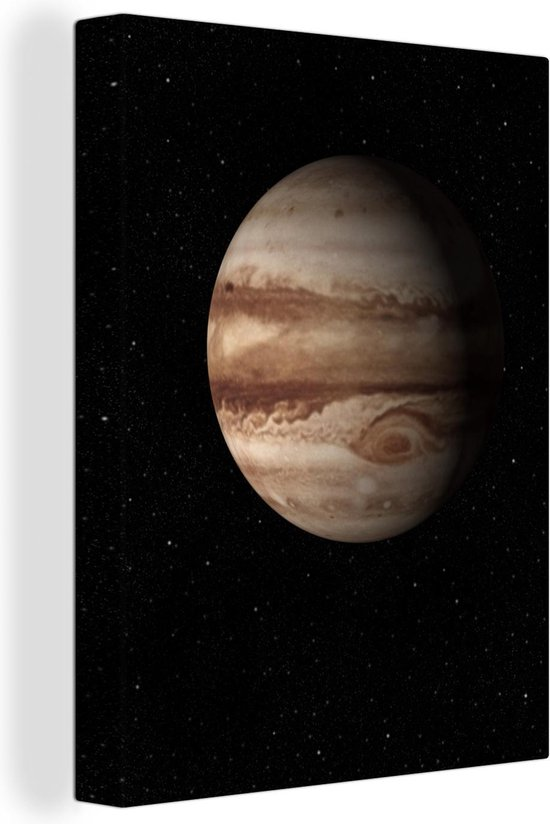 Een illustratie van de planeet Jupiter canvas 30x40 cm - klein - Foto print op Canvas schilderij (Wanddecoratie woonkamer / slaapkamer)