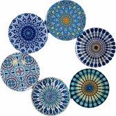 Onderzetters - Set van 6 - Onderzetters voor glazen - Bohemian - Oriental design onderzetters - Mandala Design - Glazen Onderzetters - Coasters - Drink Onderzetters - Tafel Onderzetters - 9 cm diameter