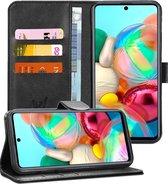 Samsung A71 Hoesje - Samsung Galaxy A71 Hoesje Book Case Leer Wallet - Zwart