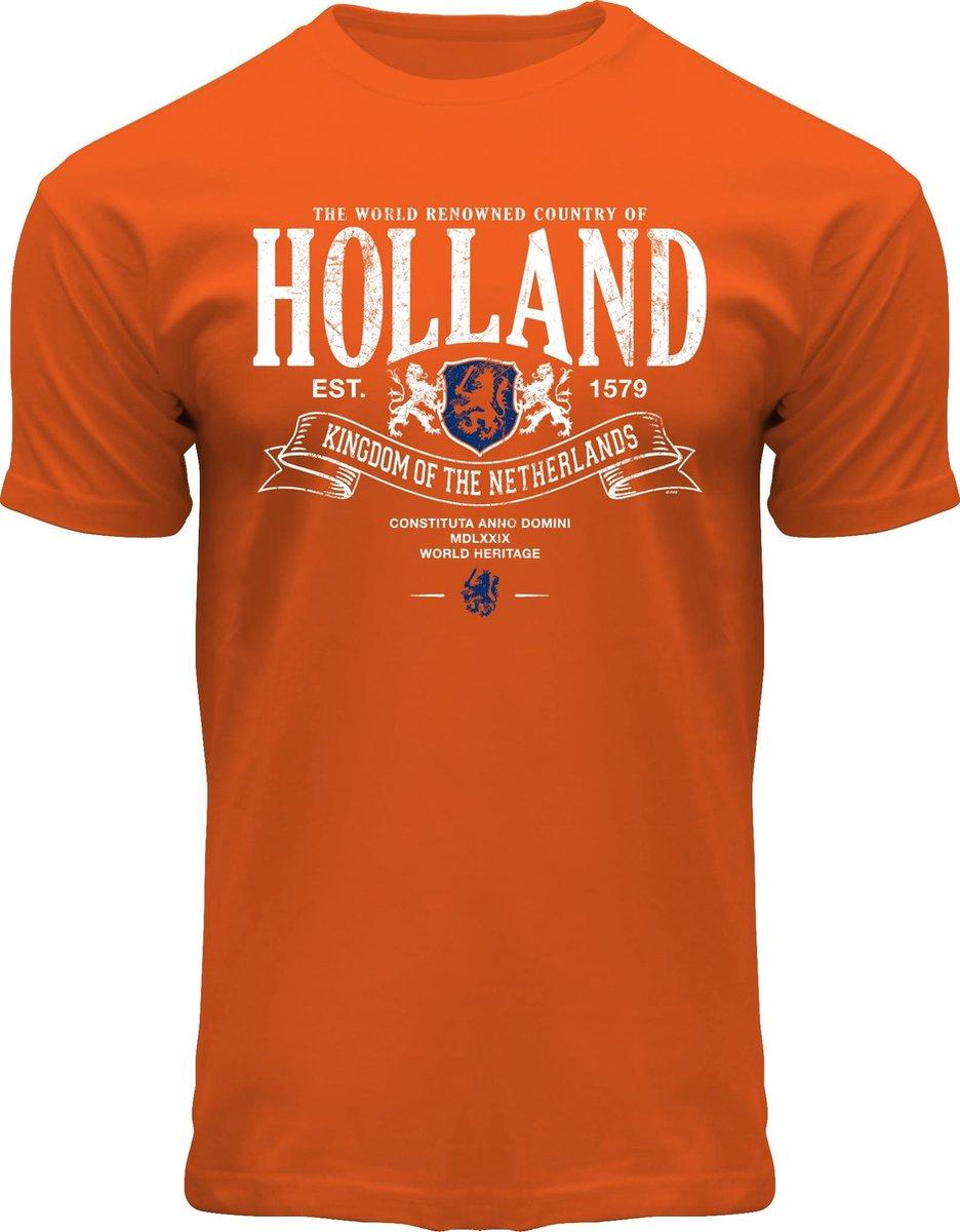 Fox Originals Holland Superior T-shirt Heren & Dames Katoen Oranje Maat L