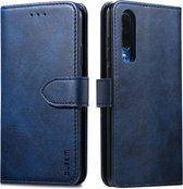 Voor Huawei P30 GUSSIM zakelijke stijl horizontale flip lederen case met houder & kaartsleuven & portemonnee (blauw)