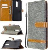 Voor xiaomi redmi k30 kleuraanpassing denim textuur horizontale flip lederen case met houder & kaartsleuven & portemonnee & lanyard (grijs)