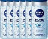 NIVEA MEN Pure Impact Douchegel - 250ml - 6 Pack - Voordeelverpakking