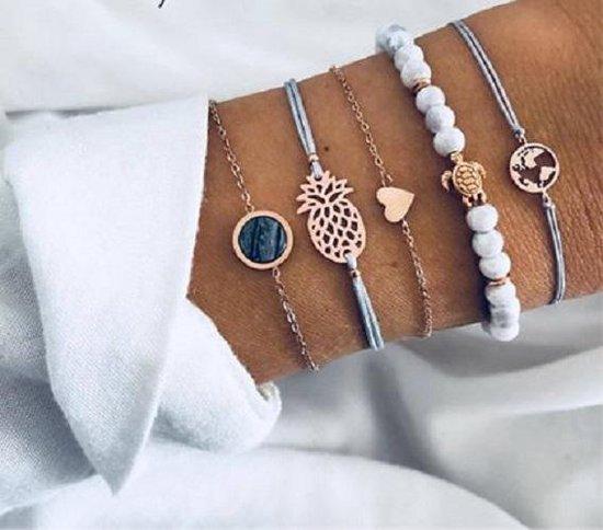 Nr. 9 - Armbanden set Ibiza Style - Grijze armbanden set 5-delig