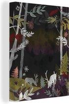 Een illustratie van een bos in de nacht canvas 60x80 cm - Foto print op Canvas schilderij (Wanddecoratie woonkamer / slaapkamer) / Bomen Canvas Schilderijen